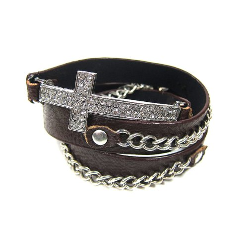 Cross Silver with Brown Leather Rhinestones Wrap Around Bracelet