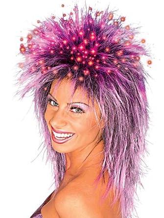Rubie's Costume Fiber Optic Spiky Wig, Black/Purple, One Size