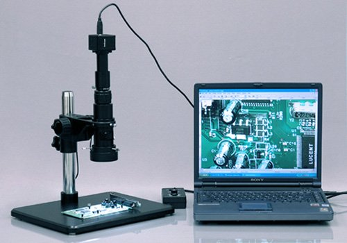 "Amscope H800-9M Digital Monocular Inspection Microscope, 0.7X-5.0X Zoom Objective, 11X-80X Magnification, 4-1/8"" Working Distance, Pillar Stand, 110V-240V, Includes 9Mp Camera With Reduction Lens And Software"
