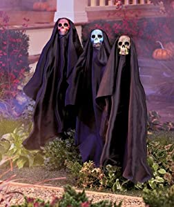 Set of 3 LED Lighted Multi Color Changing Lights Creepy Scary Grimm Reaper Ghost Ghoul Skeleton Halloween Decor Stakes Yard Outdoor Decoration by knl store