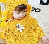 【ノーブランド】Baby ベビー くまさん付き ケープ ボンボン ニット 帽子 セット 4色 防寒 (イエロー) ランキングお取り寄せ