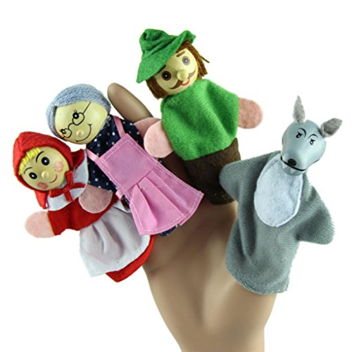 Dreaman 4PCS Little Red Riding Hood Finger Puppets Christmas Gifts Baby Educational Toy