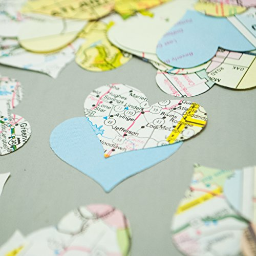 Heart Shaped Vintage Map Confetti (200 pieces) - Table Scatter, Flower Girl Petals