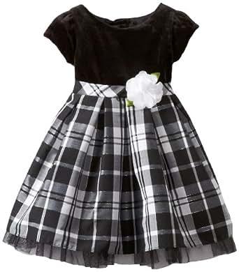 Youngland Little Girls' Short Sleeve Taffeta Lurex And Trans Dot Dress, Black White, 4T