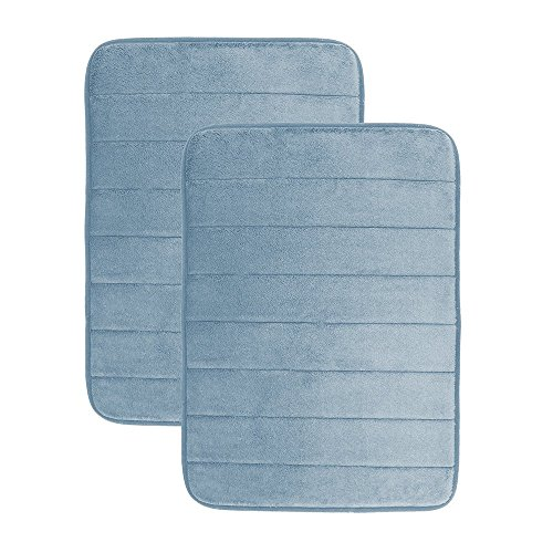 Luxor Linens - Memory Foam Bath Mat 2-Piece Set - Giovanni Line - Luxurious , Super Soft & Absorbent with Anti-Slip Backing - Available in a Wide Variety of Colors Blue Moon Bath