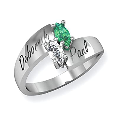 14k White Gold Synthetic Family Jewelry Ring