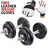 MAXSTRENGTH 20kg cast iron dumbbell weights set fitness exercise workout in a carry case FREE weight lifting glvoes