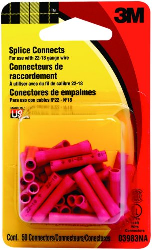 3M 03983Na Electrical Connectors With Wire Range 22-18 Splice Connect, 50-Pack