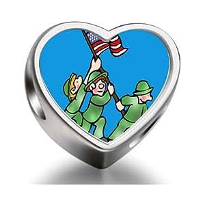 Veterans patriotic soldier US flag Heart Photo Charm Beads Fit Pandora Chamilia Biagi beads Charms Bracelet