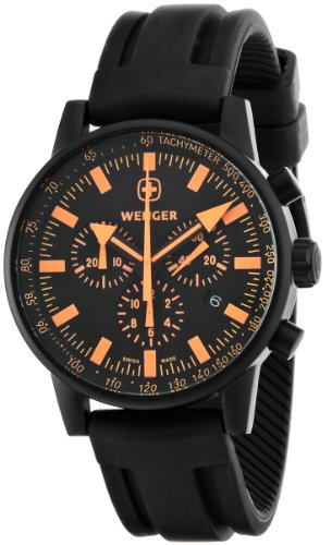 Wenger Men's 70893 Swiss Raid Commando Orange-Accent Black Rubber Strap Watch