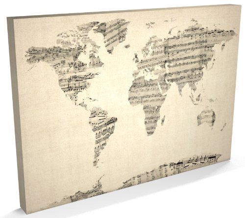 Map of the World Map, Vintage Sheet Music Collage, Canvas Art Print, 22x34 inch (A1) - 895