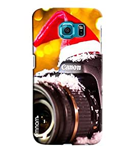 Omnam Cannon Camera In Snow Wearing Chirstmas Cap Printed Designer Back Case Samsung Galaxy S7