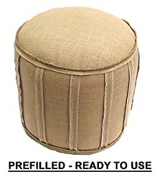 Cotton Craft - Rustic Jute Burlap Patch Pouf - Natural - Floor Ottoman - 100% Jute Fabric - Lovingly Handmade by skilled Artisans by patching together strips of Natural Jute - 20 Diameter x 14 High