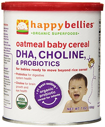 Happy Bellies Organic Baby Cereal with DHA, Choline & Probiotics, Oatmeal, 7-Ounce Canisters (Pack of 6)