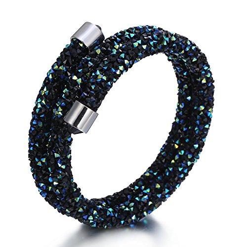 Rinhoo Rhinestone Double Wrap Magnetic Crystal Mesh Bracelet(Green)