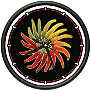 Hot Peppers Wall Clock Sauce Red Chili Pepper Cayenne from ZANYSIGNS