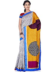 Aadarshini Women's Raw Silk Saree (110000000462, Off White & Yellow)