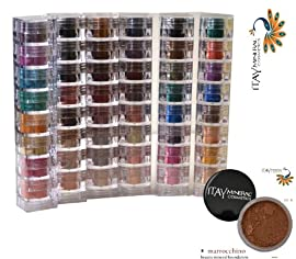 Itay Beauty Mineral Cosmetics Eye Shadow Shimmer 6 X 8 Stacks: Caribbean Samba, Nature Beauty, Best 4 Blue Eyes, Best 4 Green Eyes, Best 4 Brown Eyes, Best 4 Black Eyes + Mineral Foundation Color: Mf-8 Marrocchino (Dark)