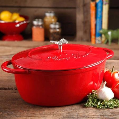 Pioneer Woman Timeless Beauty 7-quart Dutch Oven with Bakelite Knob and Stainless Steel Butterfly Knob (Red)