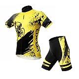Lixada Homme maillot velo à manches courtes + Cuissard de compression 3D Padded Short Respirant Respirant Vêtements de Cyclisme