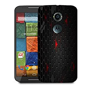 Snoogg Black Honey Comb Designer Protective Phone Back Case Cover For Moto X 2nd Generation