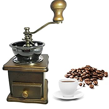 Premium Adorable Manual Hand Coffee Bean Grinder of Solid Beech Wood Body and Heavy Duty Steel Adjustable for Coarse to Fine Grind - Can Also Grind Dry Spices