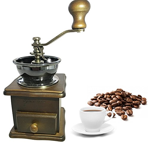 Premium Adorable Manual Hand Coffee Bean Grinder of Solid Beech Wood Body and Heavy Duty Steel Adjustable for Coarse to Fine Grind - Can Also Grind Dry Spices (Antique Coffe Grinder compare prices)