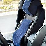 (ファーストクラス)FirstClass 車用 腰痛対策 シートクッション&ヘッドレスト メモリーフォーム製 人間工学設計 バックサポート ネックサポート 通気性に富む オフィス 旅行 ホーム 車シート 椅子 自動車用 フォーシーズン ディープブルー 2pc