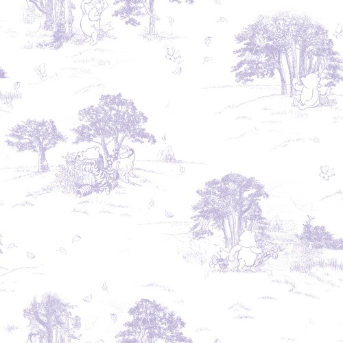 Imperial Disney Home DF059844 Pooh Classic Toile Wallpaper, Pastel Purple, 20.5-Inch Wide - 1