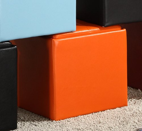 Storage Cube Ottoman in Orange Bi-cast Vinyl of Ladd Collection by Homelegance