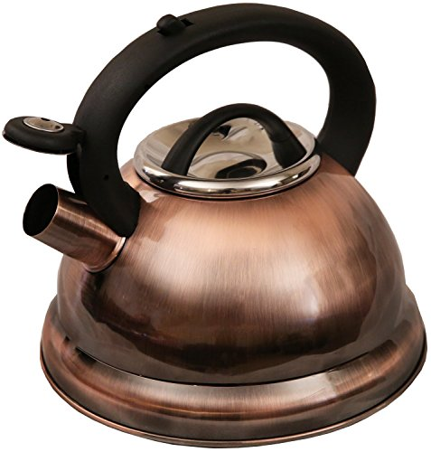 New Stylish Whistling Tea Kettle 2.8 Liters Elegant Copper Finish (Copper Tea Kettle compare prices)