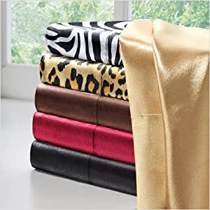 Bundle-57 Solid Satin Sheet Set Size: Full, Color: Leopard