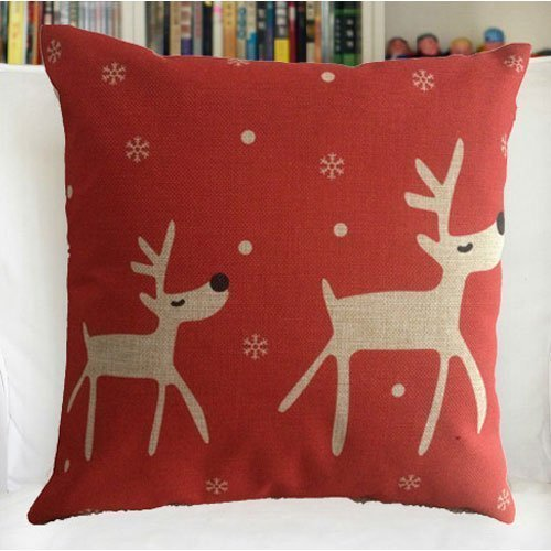 "YPY Creative Fashion Cotton Linen Square Decorative Throw Pillow Cover Colored Drawing Red Base Reindeer 18 ""X18 """