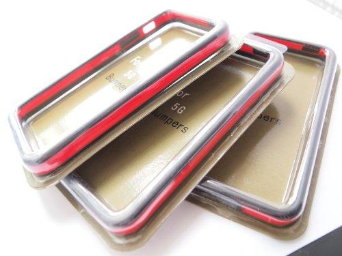 COCO AccessoryiPhone5 ハイブリッド バンパー ケース Edge Guard Bumper foriPhone5 skeltong 樹脂製 で 手触り感 が 心地よく 手 に フィット 大切なiPhone を守る ( ブラックエッジ エナジーレッド ) 画面 保護フィルム 付き