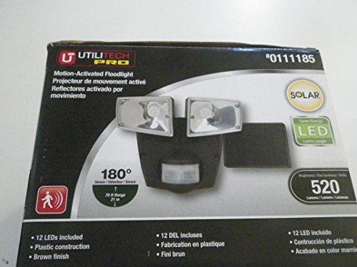 Utilitech Pro 180-Degree 2-Head Bronze Solar Powered Led Motion-Activated Flood Light With Timer Item# 111185 Model#Msled1801Ut Upc#080083617760