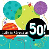 Life is Great 3-Ply 50th Birthday Lunch Napkins 16 Per Pack