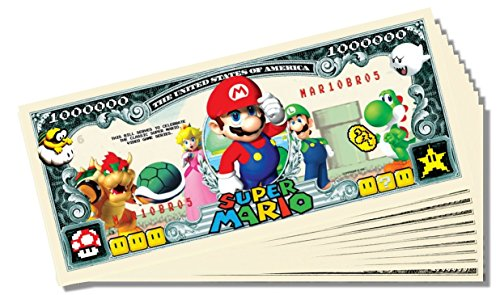 Super Mario Novelty Million Dollar Bill - 10 Count with Bonus Clear Protector & Christopher Columbus Bill