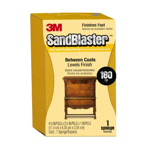 3M 9564 Sand Blaster Dual Angle Sanding Sponge 180-Grit, 4.5 by 2.5 by 1-Inch