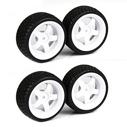 SkyQ 5 Spoke Plastic Wheel Rims and Rubber Tires for HSP HPI RC 1:10 On Road Car White Pack of 4