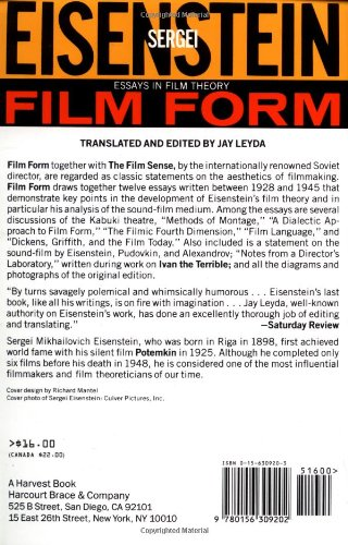 sergei eisenstein film form essays in film theory Film form essays in theory sergei eisenstein - fetishism functions as the exemplary perversion for freud it allows the subject to disavow its castration while obtaining sexual pleasure at the same time.