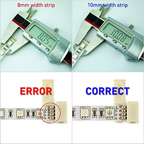 Esco Lite 20pcs 4pin Rgb 5050 Led Light Strip Solderless