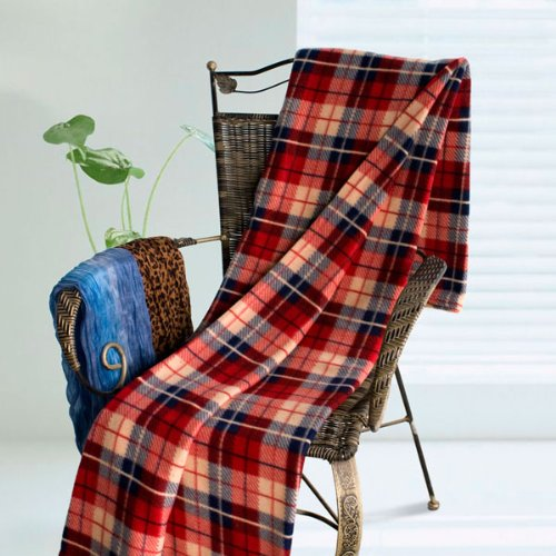 [Scotch Plaids - Blue/Red/Cream] Soft Coral Fleece Throw Blanket (71 by 79 inches)