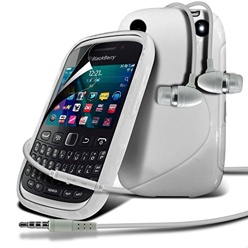 Blackberry Curve 9320 White S Line Wave Gel Case Skin Cover With Lcd Screen Protector Guard, Polishing Cloth & Hands Free Earphone With Built In Microphone Mic & On-Off Button By Fone-Case
