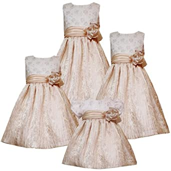 Size-4T/4 RRE-45900H METALLIC-GOLD FOIL DOT FLORAL EMBROIDERED CRINKLE SKIRT Special Occasion Flower Girl Holiday Party Dress,H745900 Rare Editions GIRLS