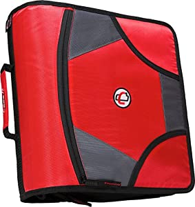 Case-it XLarge Capacity 4-Inch D-Ring Zipper Binder with 5-Tab File Folder, Red, D-186-RED