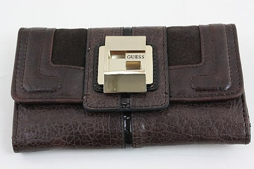 Guess Leona SLG Slim Clutch Brown Wallet Ladies Purse Vinyl PE250551