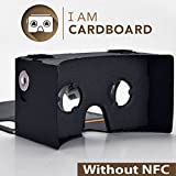 I AM CARDBOARD® 45mm Focal Length Virtual Reality Google Cardboard with Printed Instructions and Easy to Follow Numbered Tabs (WITHOUT NFC) (Black)