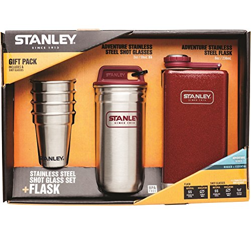 Stanley Adventure Gift Pack with Flask and Shot Set, Multiple, Crimson (Stanley Cycle Flask compare prices)