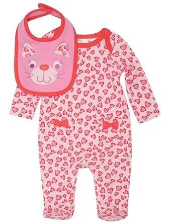 Baby Girl Newborn Leopard Print Sleepsuit Bib Set Pink 0 3