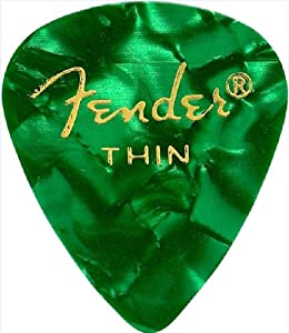 Fender 351 Premium Celluloid Guitar Picks 12-Pack - Green Moto - Thin